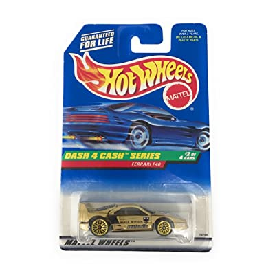 Hot Wheels - 1998 - Dash 4 Cash Series - Ferrari F40 - Gold Metallic Paint - 2 of 4 - Collector #722 - Limited Edition - Collectible 1:64 Scale: Toys & Games