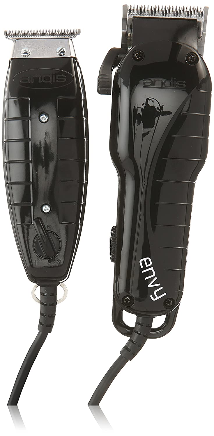 Andis Stylist Combo Envy Clipper + T-Outliner Trimmer Black Combo Haircut Kit - US 110 VOLT - TRANSFORMER REQUIRED FOR INTERNATIONAL USE 66280