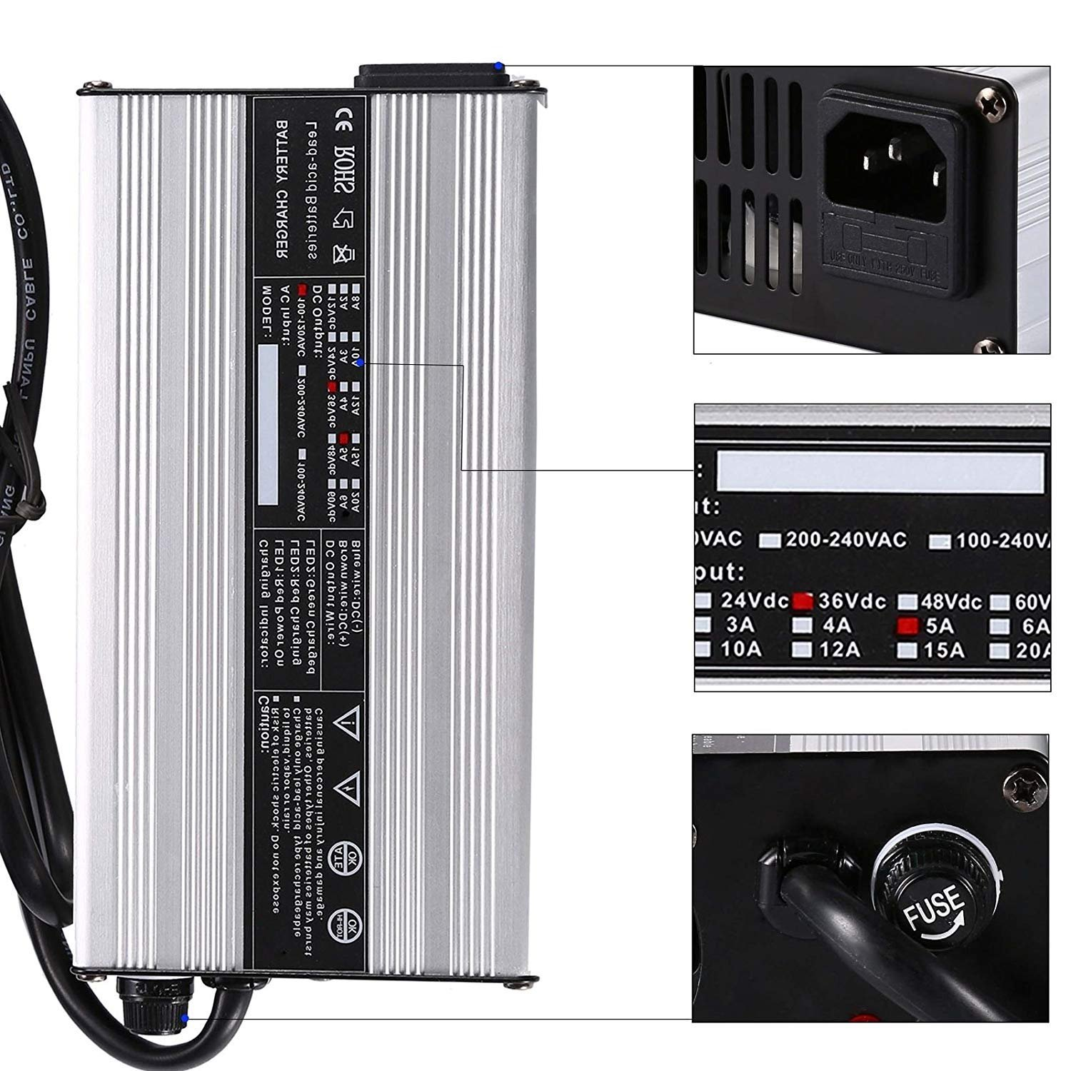 NEW 36V EZ-GO Powerwise 36 Volt TXT Medalist Golf Cart Battery Charger''D'' Style by JEM&JULES (Image #2)