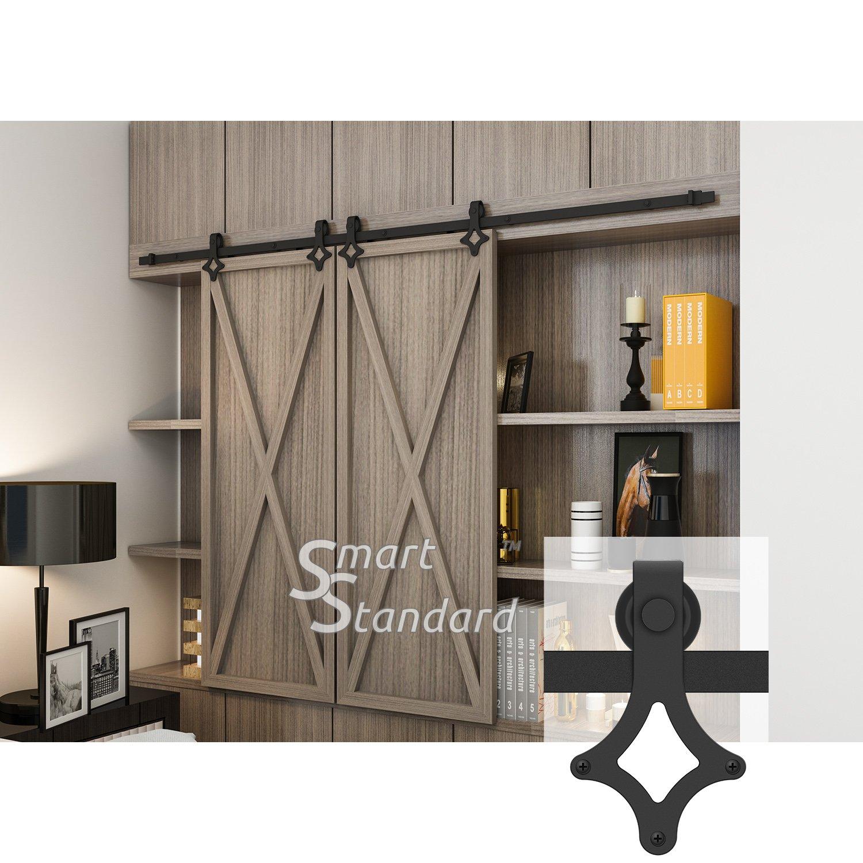 7ft Double Door Cabinet Barn Door Hardware Kit- Mini Sliding Door Hardware-for Cabinet TV Stand-Simple and Easy to Install-Fit 21'' Wide Door Panel (Cabinet NOT Included) (Mini Rhombic Shape Hangers)
