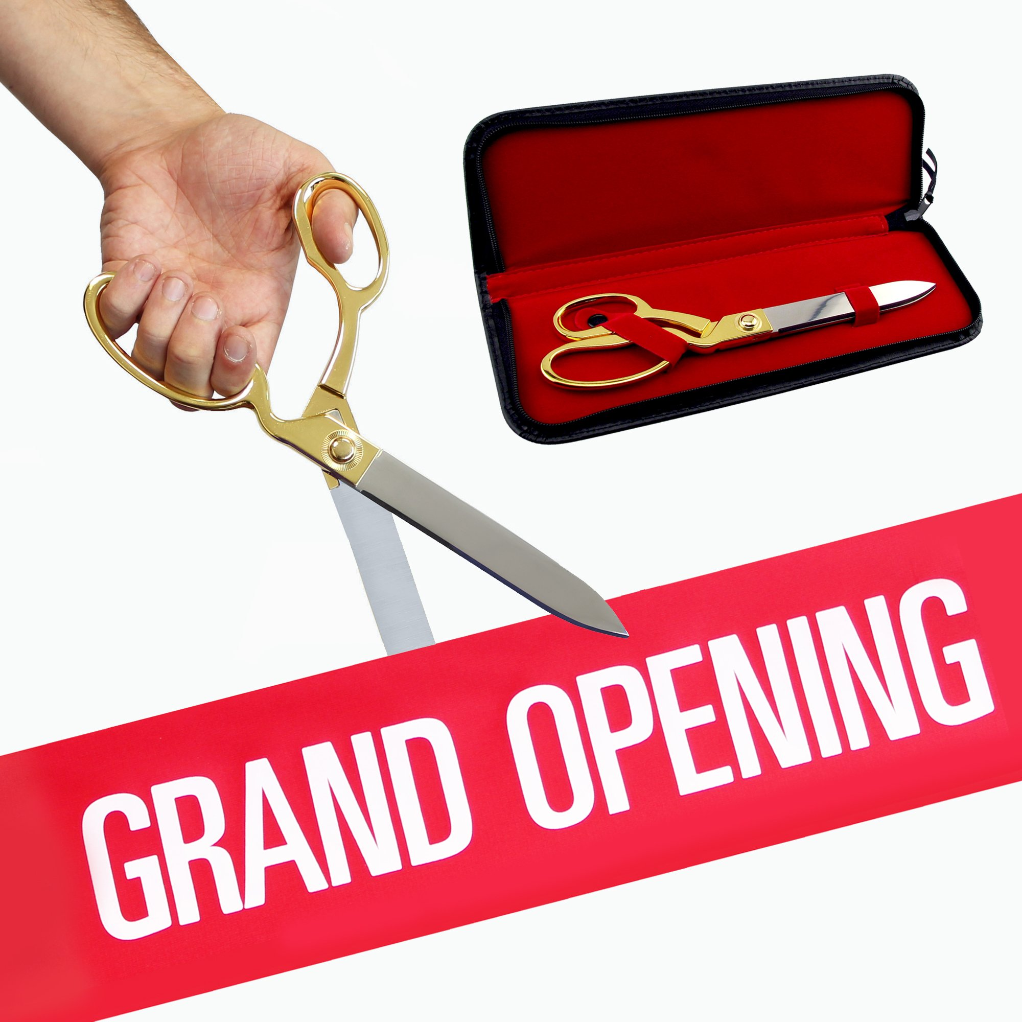 FREE Grand Opening Ribbon with 10 1/2'' Gold Plated Handles Ceremonial Ribbon Cutting Scissors and Case by Engraving, Awards & Gifts