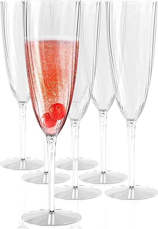 Amazon Com Plastic Champagne Flutes Disposable Plastic Wine Glasses Set Of 12 For Wedding One Piece Champagne Flutes 6 Oz Plastic Champagne Glasses Disposable Mimosa Glasses Bpa Free Plastic Cups Set Champagne Glasses
