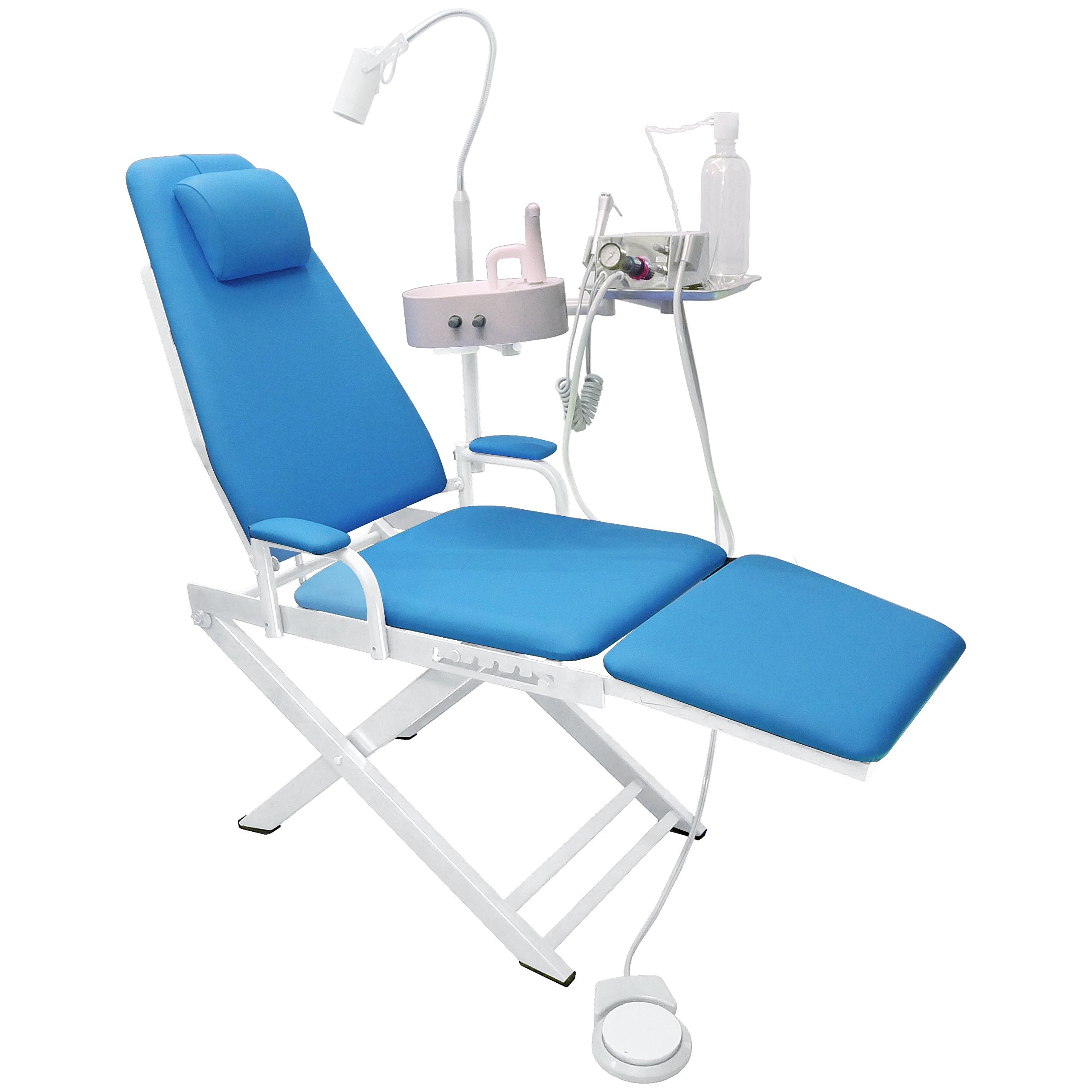NSKI Portable Folding Chair Mobile Unit+5W LED Surgical Light Lamp+Waste Basin+Water System Supply (4H,Light Blue)