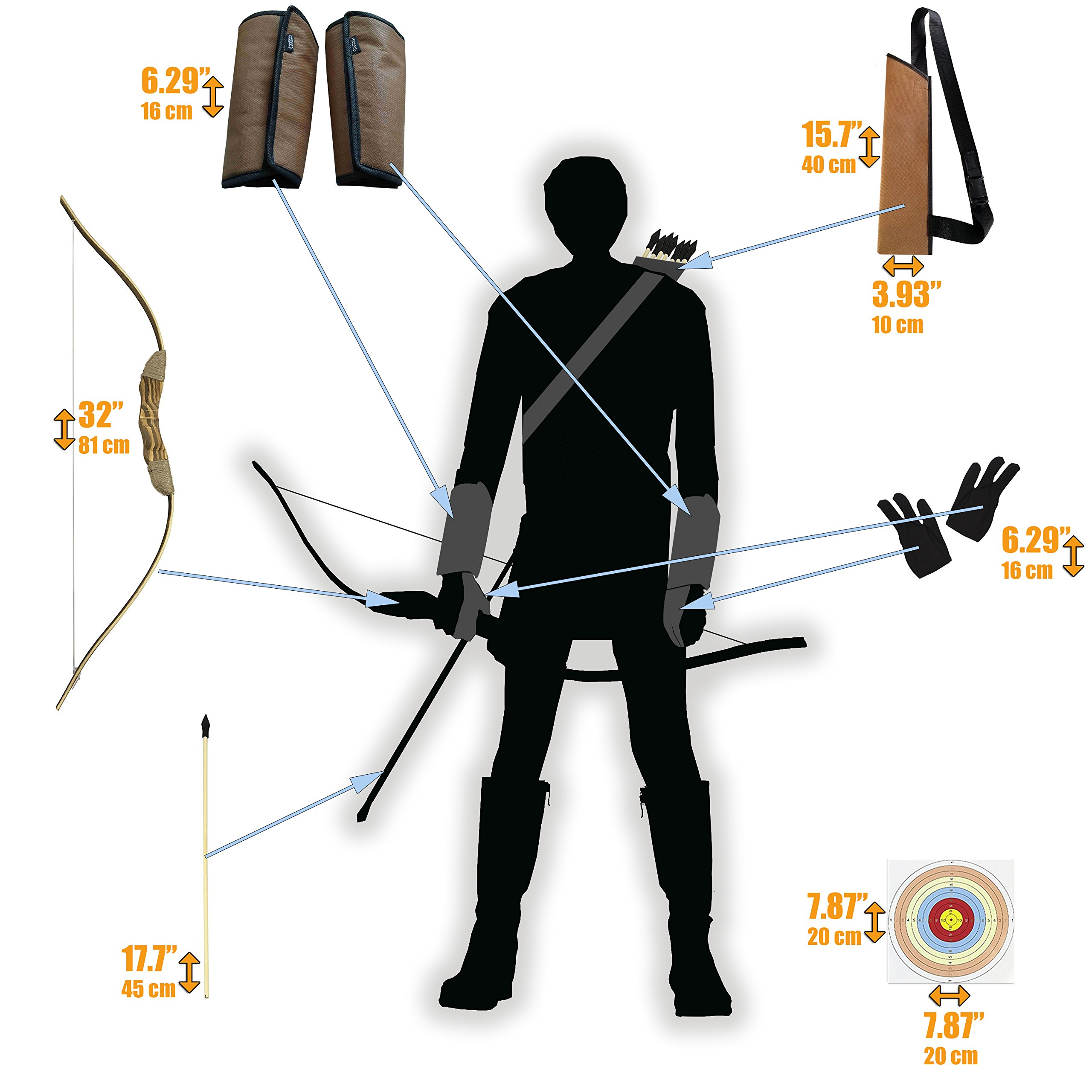 Knidose Beginners Bow Arrow Kids | 36 Pieces Safe Archery Set Outdoor Indoor Fun, Handcrafted Wooden 1 Bow, 15 Arrows, 15 Target Sheets, 1 Quiver, 2 Arm 2 Finger Guards Shooting Toy by Knidose (Image #3)