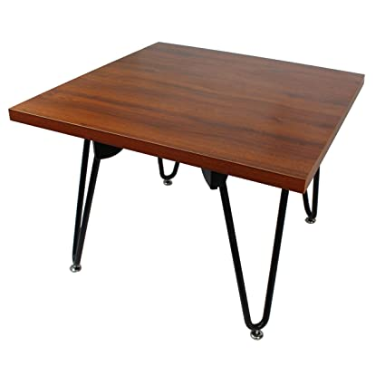 Square End Table Chestnut Laminate/Black Frame