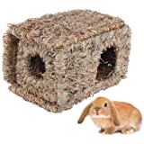 Hamiledyi Natural Rabbit Seagrass House Mat Hideaway Hut Toy,Hand Woven Folding Beds Sleeping Chew Toys for Guinea Pig…