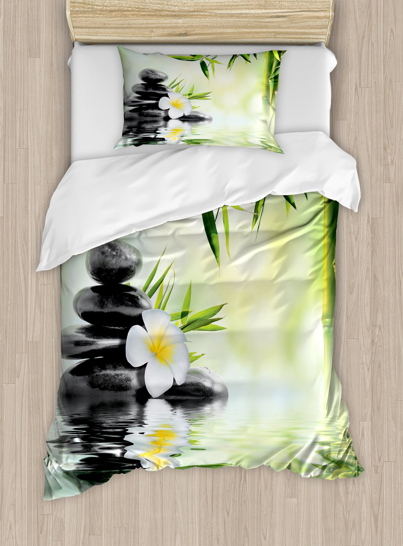 Ambesonne Spa Duvet Cover Set Twin Size, Garden with Frangipani Bamboo Japanese Relaxation Resting Travel, Decorative 2 Piece Bedding Set with 1 Pillow Sham, Pale Green Charcoal Grey Yellow