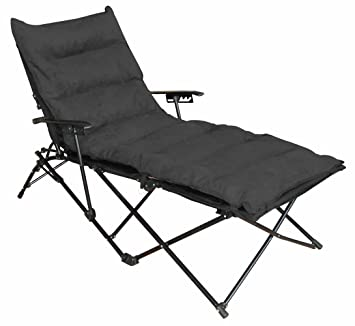 Indoor/ Outdoor Folding Chaise Lounge Chair With Microsuede Seat Cover    Black