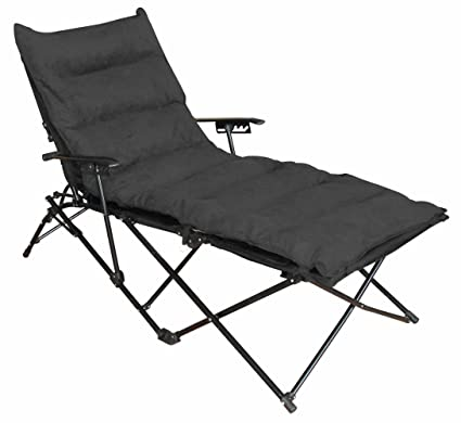 Charmant Indoor/ Outdoor Folding Chaise Lounge Chair With Microsuede Seat Cover    Black