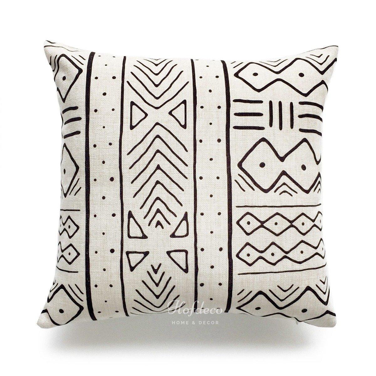 Hofdeco d/écoratifs Housse de coussin lourd en coton et lin africain Chiffon de boue ethnique Naturel Geo /à rayures 45/cm x 45/cm Lot de 2