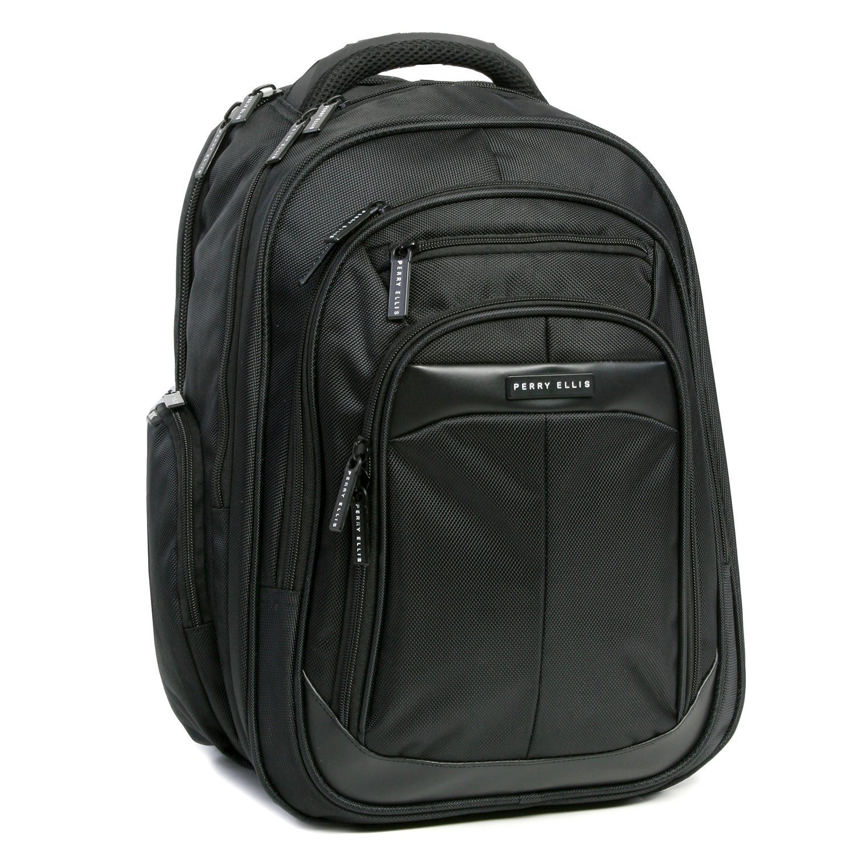 8876876671fe Perry Ellis M140 Business Laptop Backpack, Black