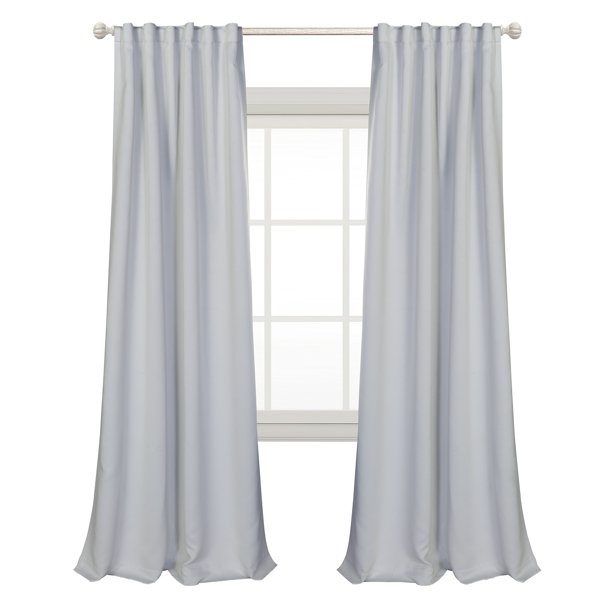 MYSKY HOME Thermal Insulated Curtain Drapes Back Tab and Rod Pocket Blackout Curtains for Living Room, 52 x 84 Inches, Greyish White (2 Panel Set)