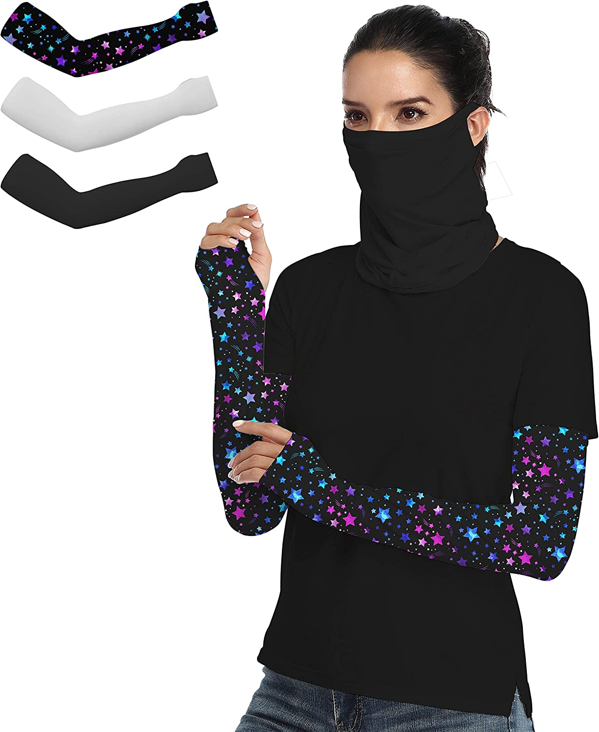 3 Pairs UV Protection Cooling Arm Sleeves - UPF 50+ Colorful Arm Sleeves for Men/Women/Students for Sports