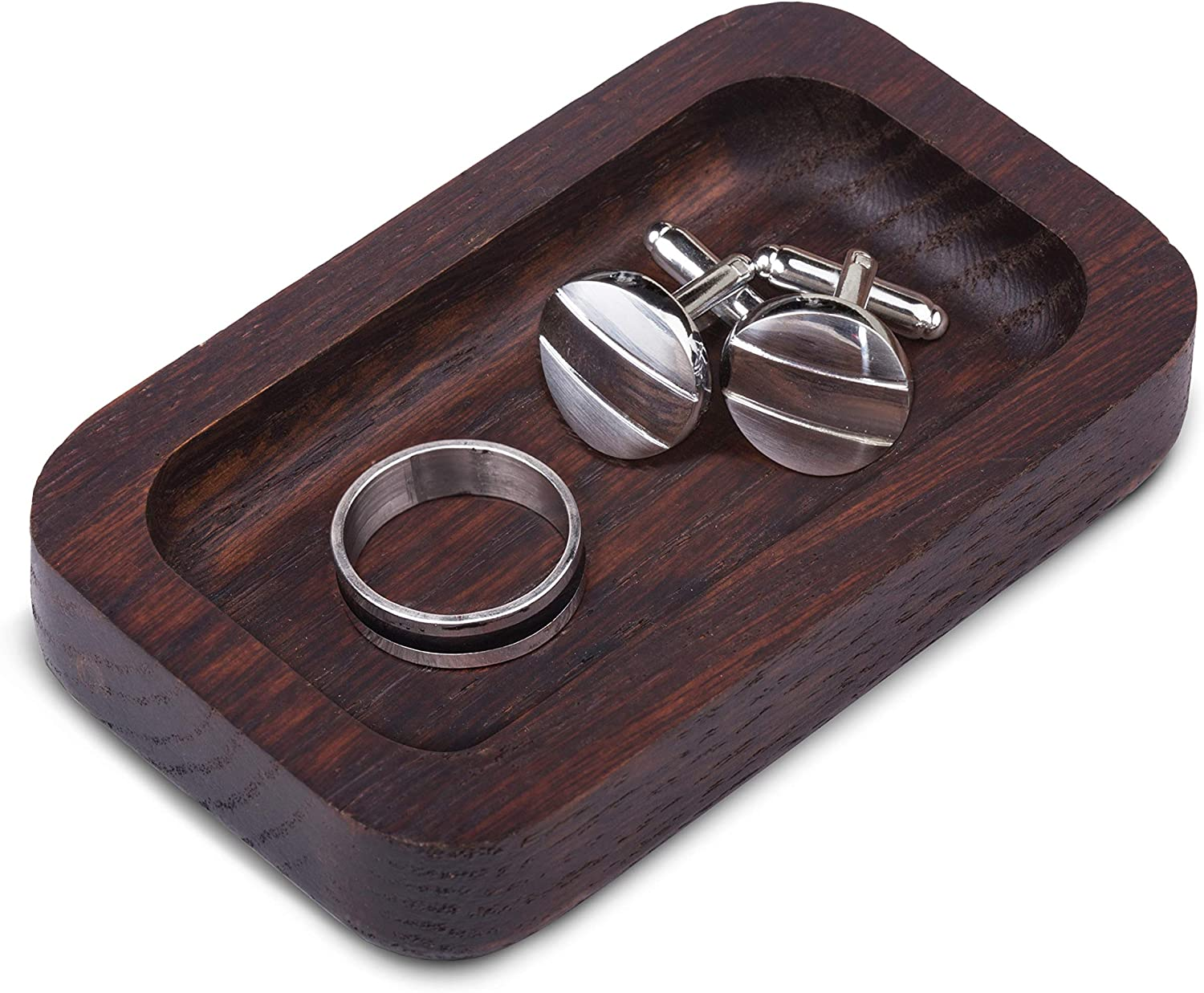 Mens Wood Ring Holder – Engagement Anniversary Wedding Gifts for Men or Husband Unique Cool Men s Jewelry Gift Accessories Birthday Gift Ideas For Him Men s Ring Tray Dish Trinket Organizer
