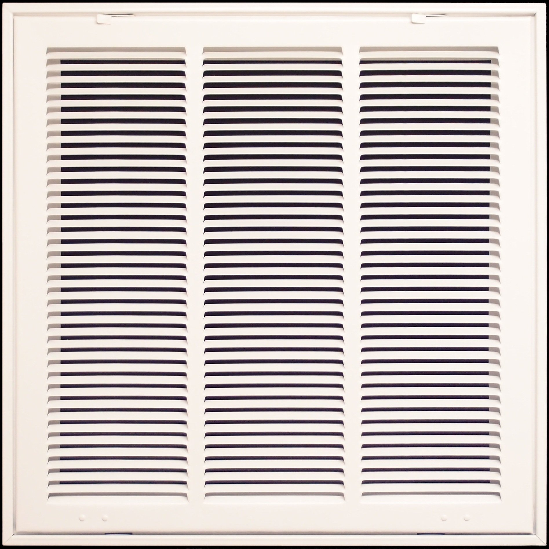 18'' X 18 Steel Return Air Filter Grille for 1'' Filter - Fixed Hinged - ceiling Recommended - HVAC DUCT COVER - Flat Stamped Face - White [Outer Dimensions: 20.5''w X 20.5''h]