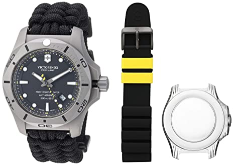 26bc25308 Victorinox Swiss Army Men's I.N.O.X. Titanium Swiss-Quartz Diving Watch  with Nylon Strap, Black