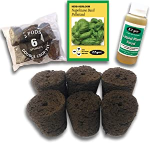 Hydrohort Napolitano Basil Seed Pod Kit is Compatible with Click and Grow Smart Garden | Double The Sponges & Double The Seed for 2 Crops | Pelletized Seed Compatible with Click and Grow Pods