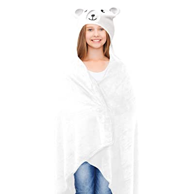 "Lulu & Coco Super Soft Plush Hooded Animal Throw Girls Teens Young Adults Gift 40"" x 50"" (Bear): Home & Kitchen"
