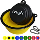 Zenify Dog Bowl Food & Water Feeder 2 Pack - Extra Large 1000ml 17.8cm & Small 400ml 12.7cm Collapsible Portable Foldable Travel Dish Leash Lead Slim Accessories for Puppy Dogs (Yellow XL/Black S)
