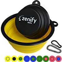 Zenify Dog Bowl - 2 Pack - Extra Large & Small Collapsible Foldable Food and Water Feeder Dish - Portable Travel Leash Lead Accessories for Training Pets Puppy Dogs (7 inches / 17.8 cm & 5 inches / 12.7 cm)