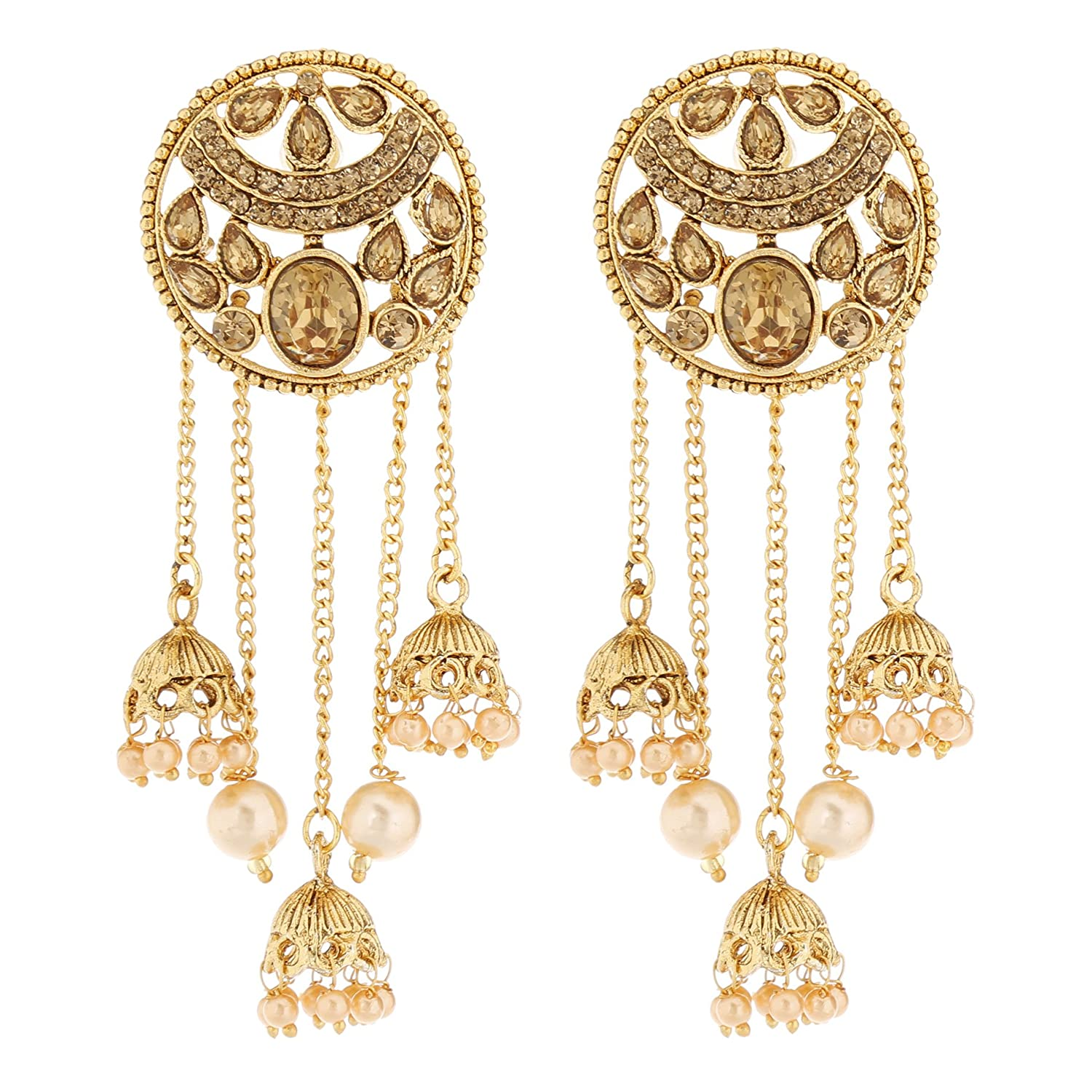 8385a7695 Buy HOMIES INTERNATIONAL Bronze Stones and Gold Plated Drop Kundan and Pearl  5 String Floral Design Jhumki Dangler Long Earrings for Women Online at Low  ...
