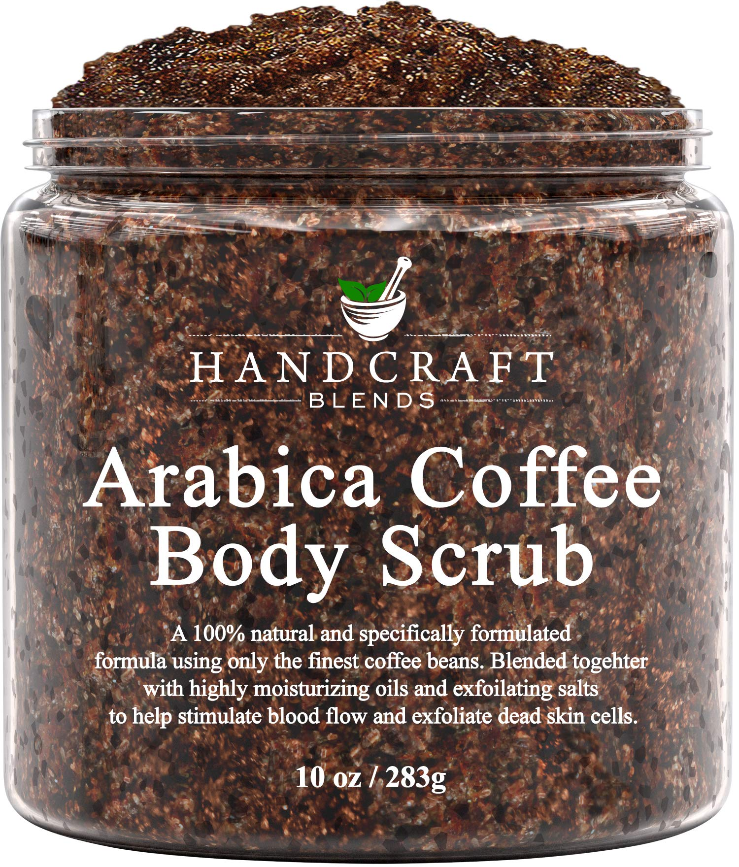 Handcraft Arabica Coffee Body Scrub - All Natural with Organic Ingredients - for Stretch Marks, Acne, Anti Cellulite and Spider Veins 10 oz by Handcraft Blends