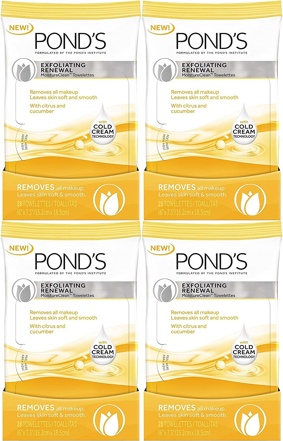 Amazon.com: Ponds Moisture Clean Towelettes, Exfoliating Renewal, 28 Count (Pack of 4): Health & Personal Care