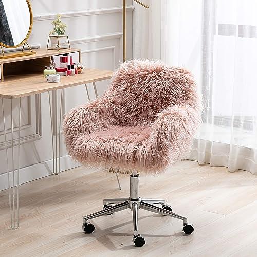 SSLine Desk Chair Faux Fur Task Chair,Modern Cute Accent Armchair Office Chair,Comfy Fuzzy Swivel Makeup Stool Desk Chair
