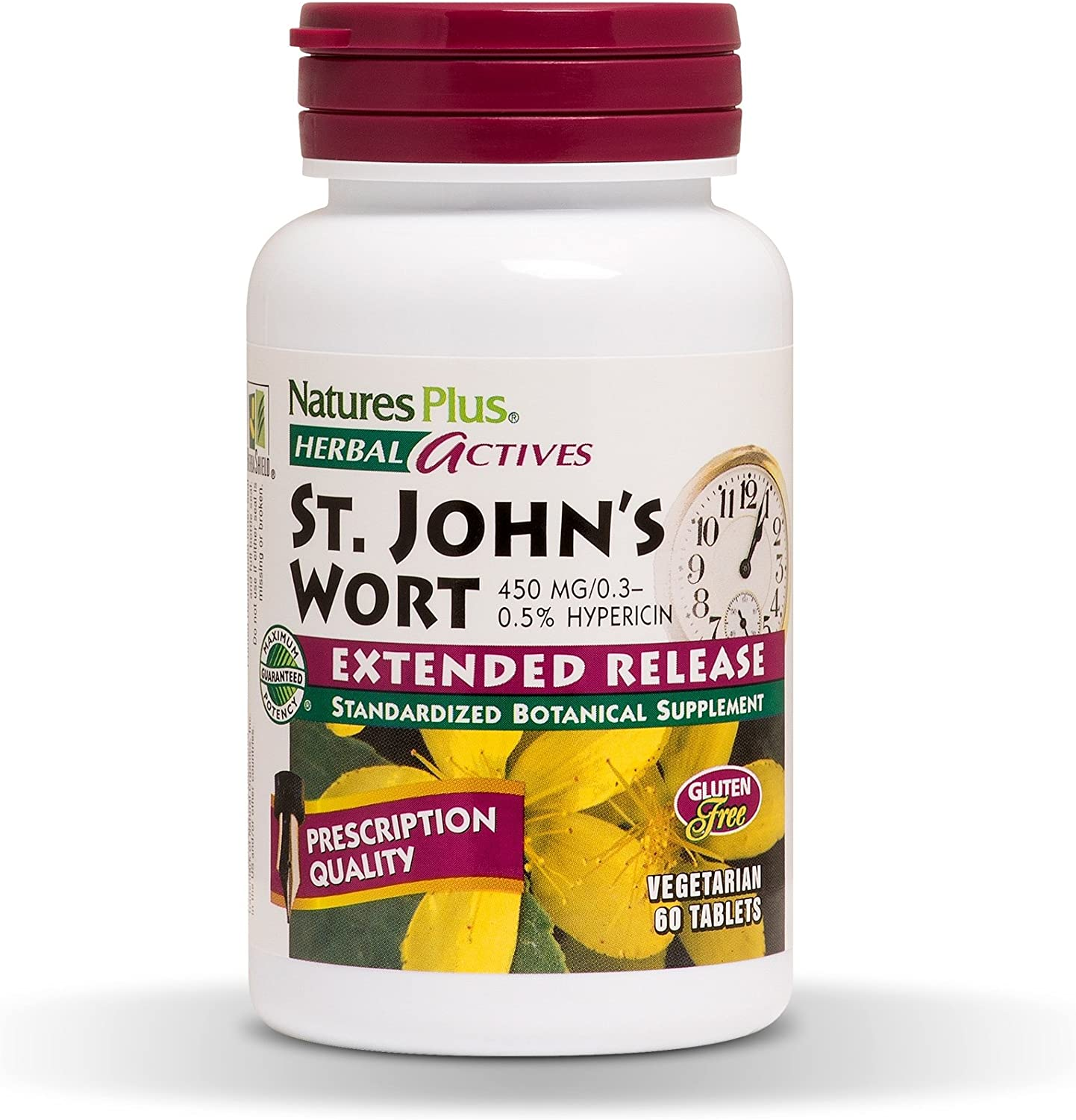 NaturesPlus Herbal Actives St John's Wort, Extended Release - 450 mg, 60 Vegan Tablets - Natural Mood Enhancer Supplement - Vegetarian, Gluten-Free - 60 Servings: Health & Personal Care