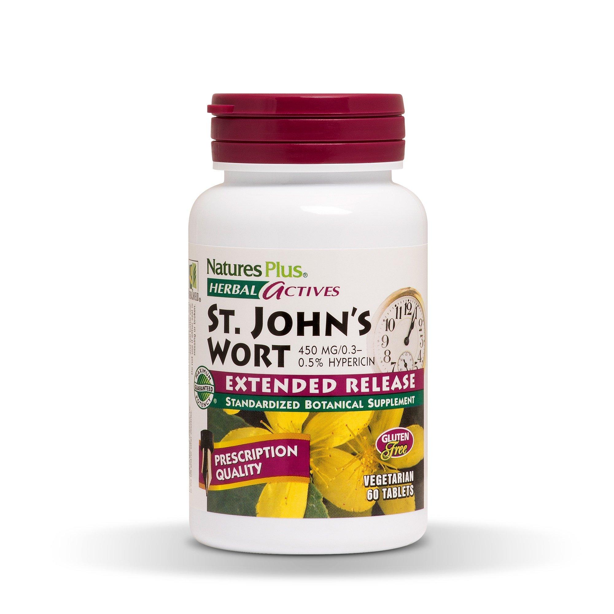 Natures Plus Herbal Actives St John's Wort - 450 mg, 60 Vegan Tablets, Extended Release - Natural Mood Enhancer Supplement - Vegetarian, Gluten Free - 60 Servings