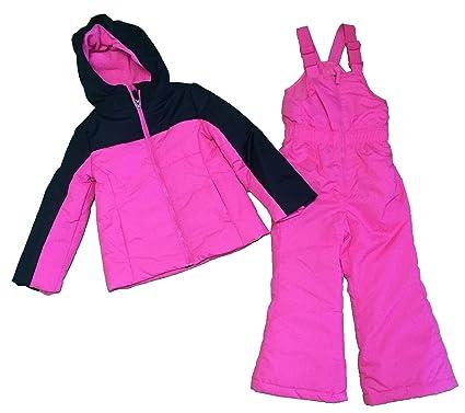 b1a0ef6f9827 Amazon.com  Faded Glory Girl s Snow Suit Ski bibs Coat 2 pc Pink X ...
