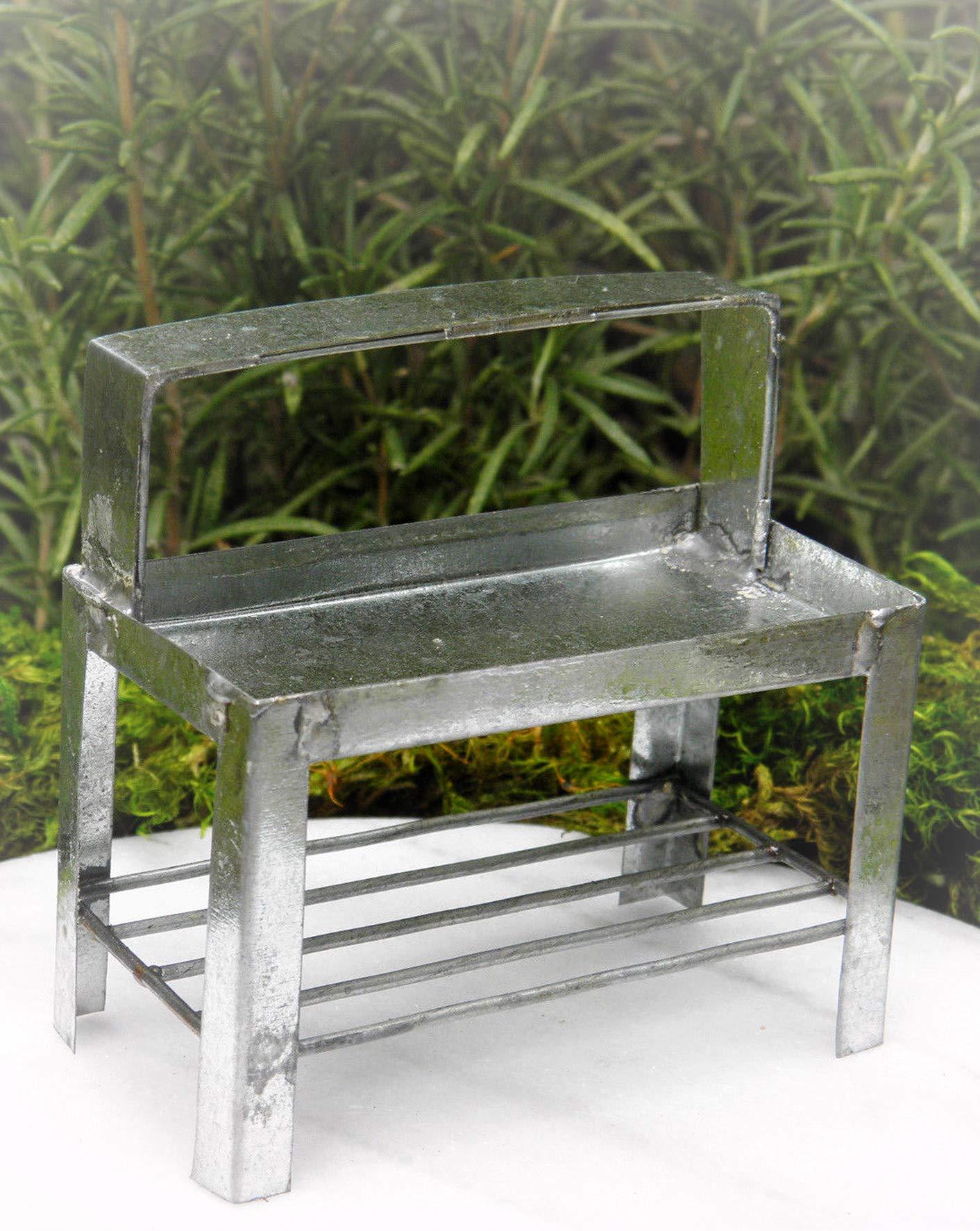 Dollhouse Furniture Tin Potting Bench Table Miniature Magic Scene Supplies Your Fairy Garden - Outdoor House Decor
