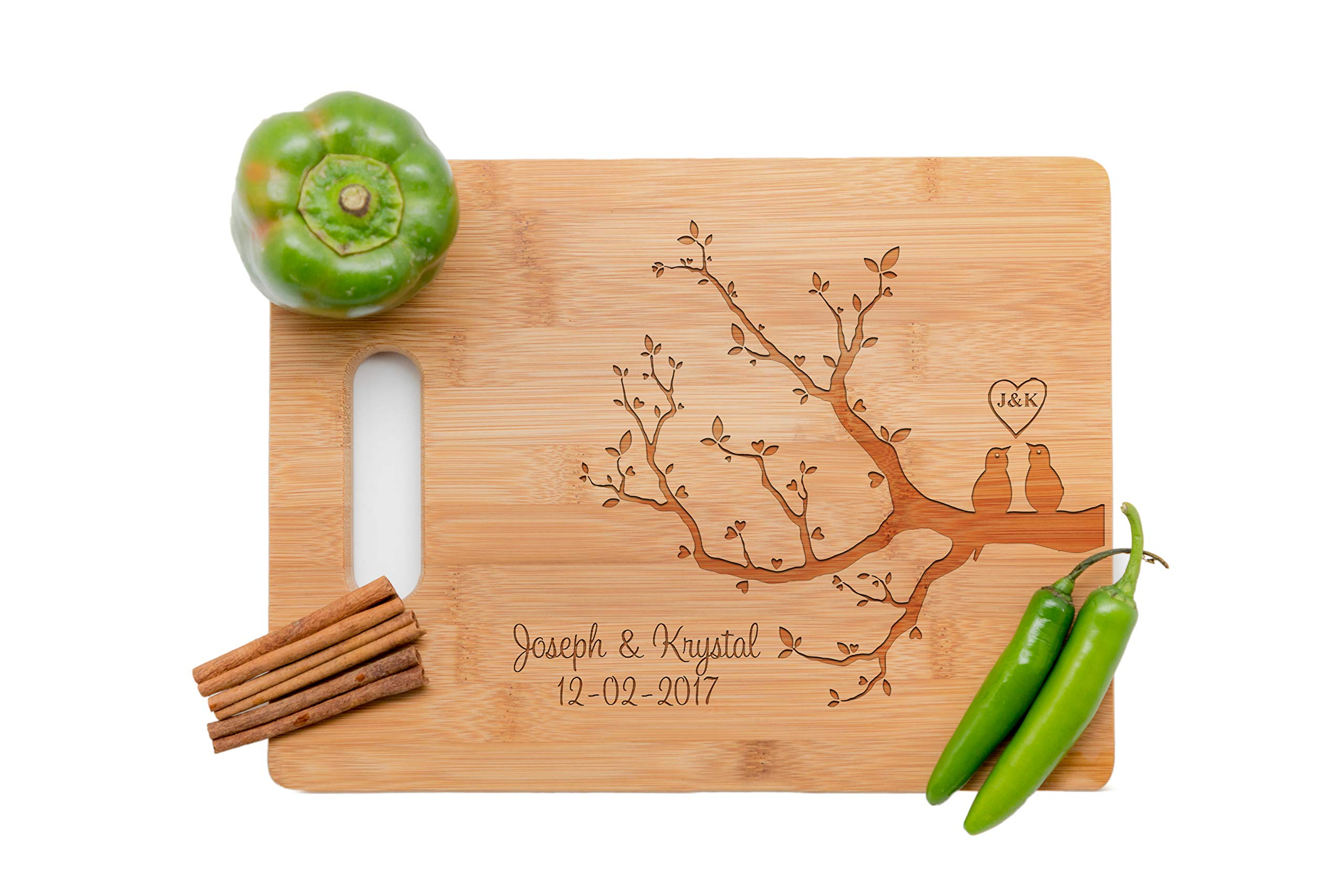 Personalized Cutting Board, Wedding Gift, Family Last Name Laser engraved cutting board,Wedding Gift for couple, Kitchen decor (LOVE BIRD)