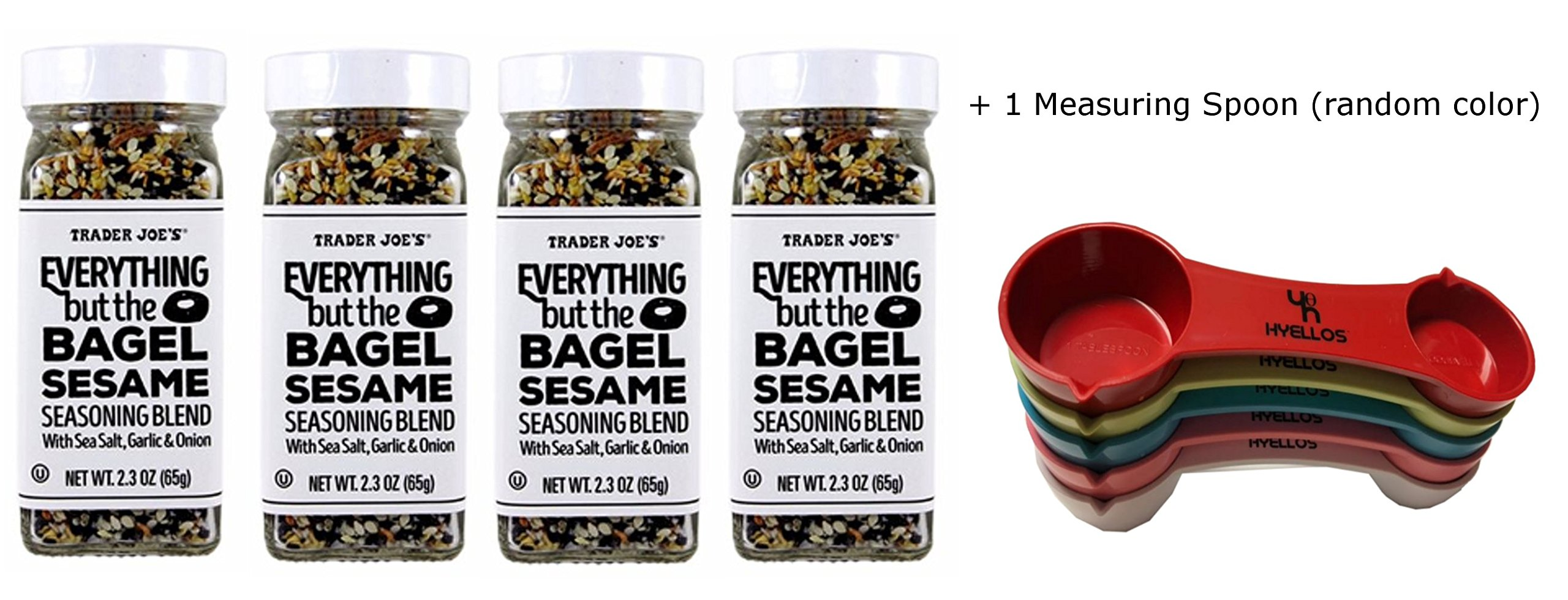 Trader Joes Everything But The Bagel Sesame Seasoning Blend (Pack of 4) and Exclusive Hyellos Measuring Spoon