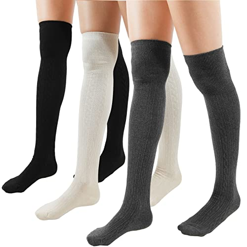 fdb68e2e1b4 Amazon.com  WOWFOOT Women Cable Over The Knee Socks Cotton (Muti  Pack-3pairs(Black