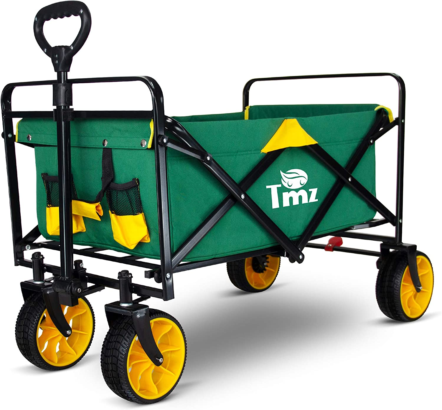 TMZ Folding Collapsible Outdoor Utility Wagon Cart, Heavy Duty Garden Cart with Rubber Tires and Carrying Bag for Shopping, Beach, Yard (Green/Yellow)