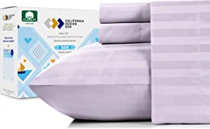 California Design Den 500-Thread-Count King Bed Sheets - Lavender Damask Stripe 4 Piece Sheet Set, Cotton Sateen Bedding, Elasticized Deep Pocket Fits Low Profile Foam and Tall Mattresses