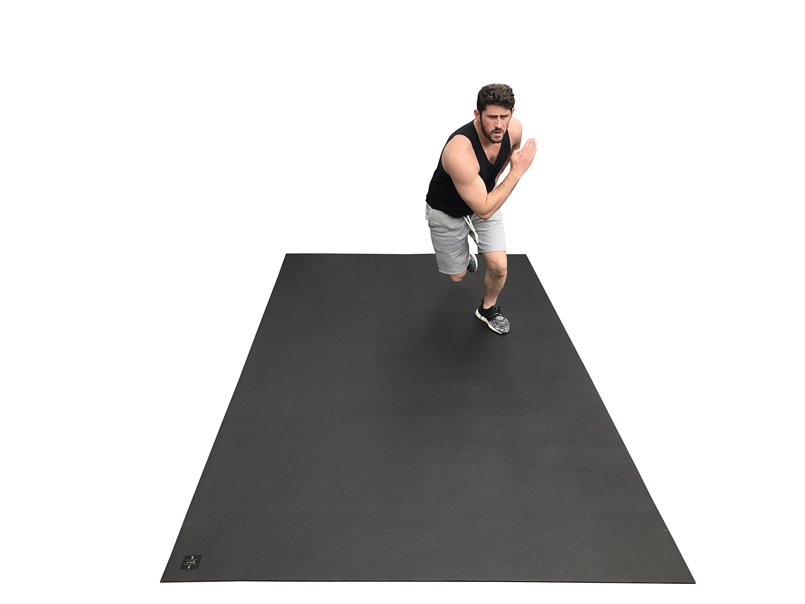 Large Exercise Mat 10 Ft X 6 Ft (120'' x 72'' x 1/4''). Designed For Cardio Workouts WITH Shoes. Perfect For MMA, Cardio And Plyometric Workouts. Ideal For Home Gyms Or Living Room Workouts. Square36 by Square36 (Image #5)