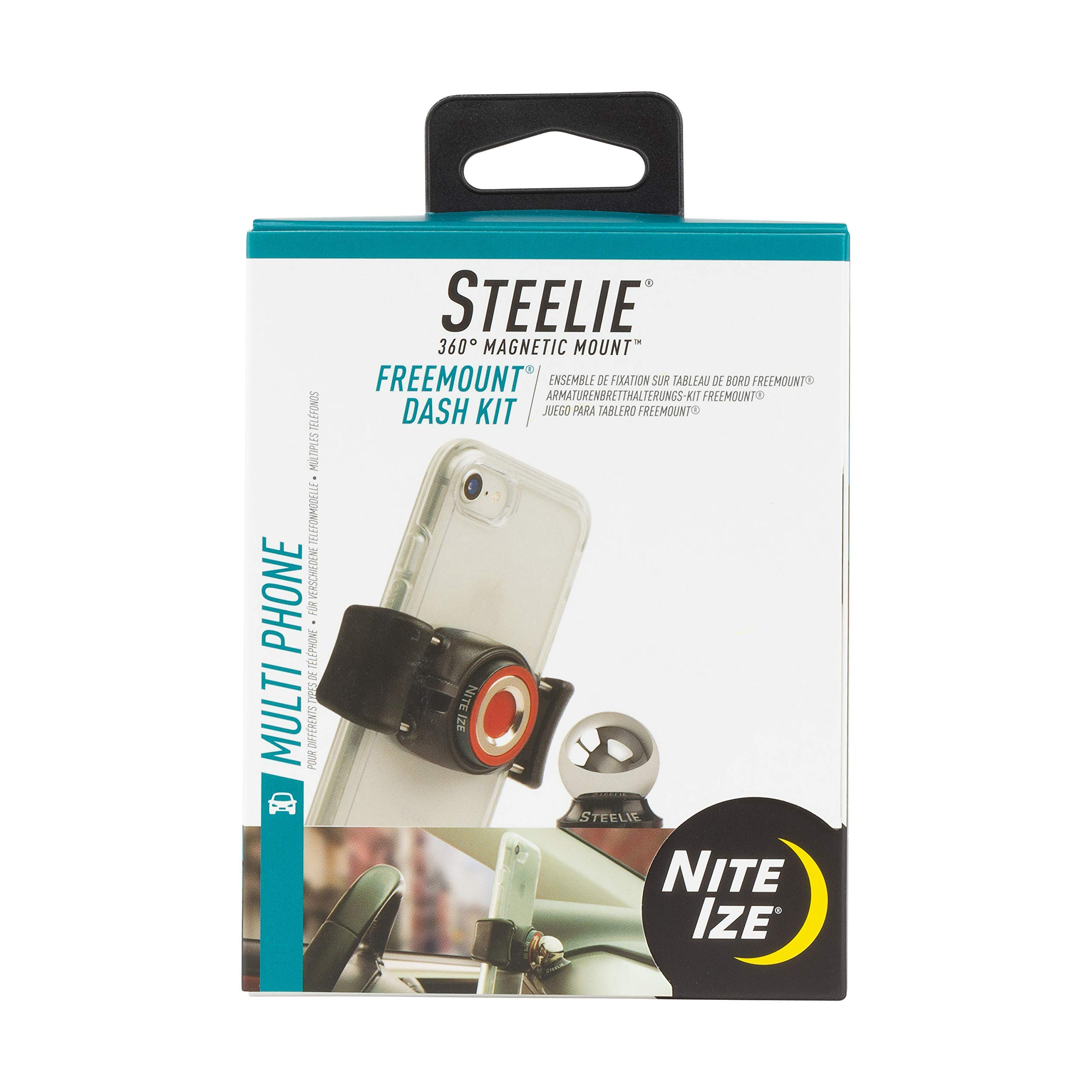 Nite Ize Original Steelie Freemount Dash Kit - Adjustable Magnetic Bracket + Car Dash Mount for Smartphones (Renewed) by Nite Ize