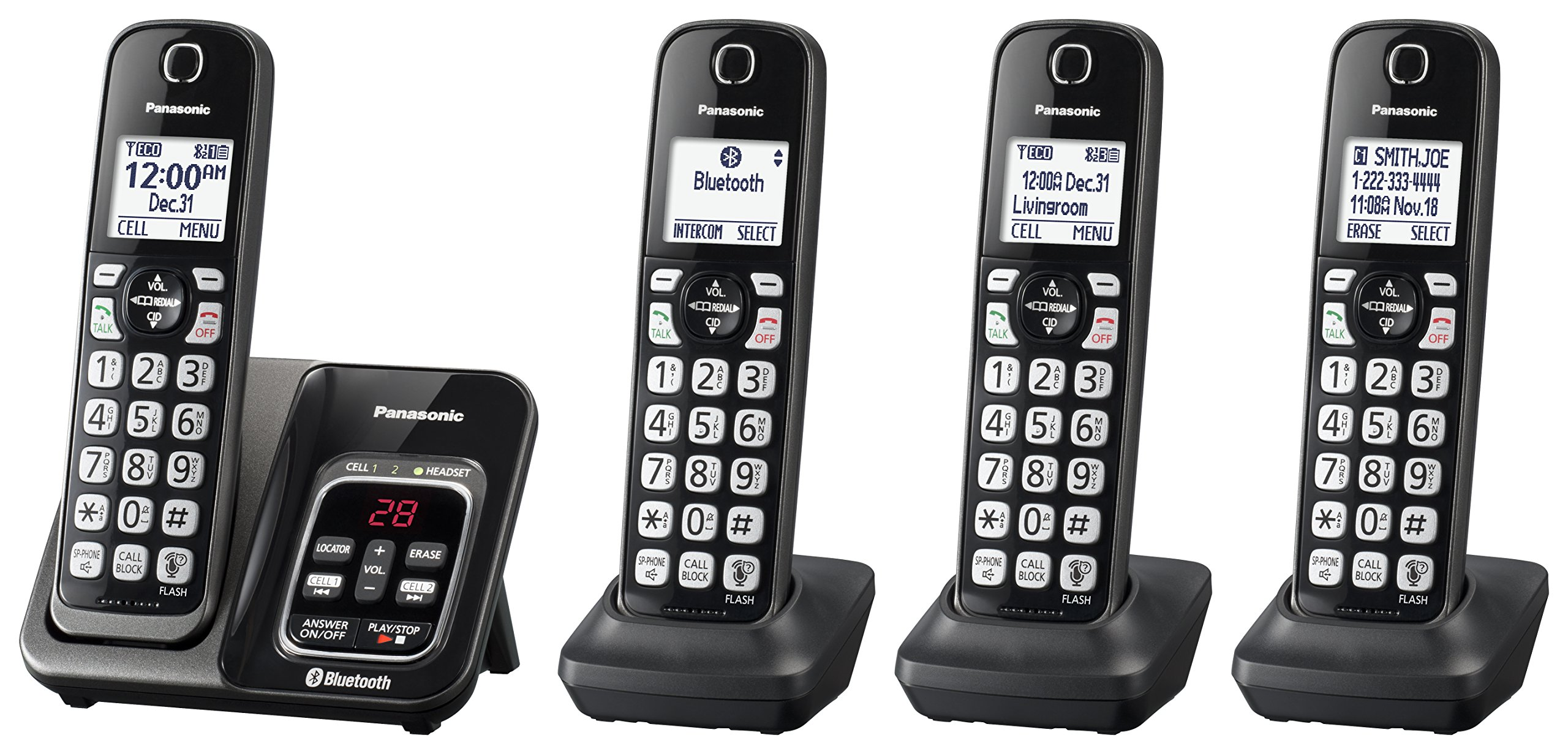 Panasonic KX-TGD564M Link2Cell Bluetooth Cordless Phone with Voice Assist and Answering Machine - 4 Handsets