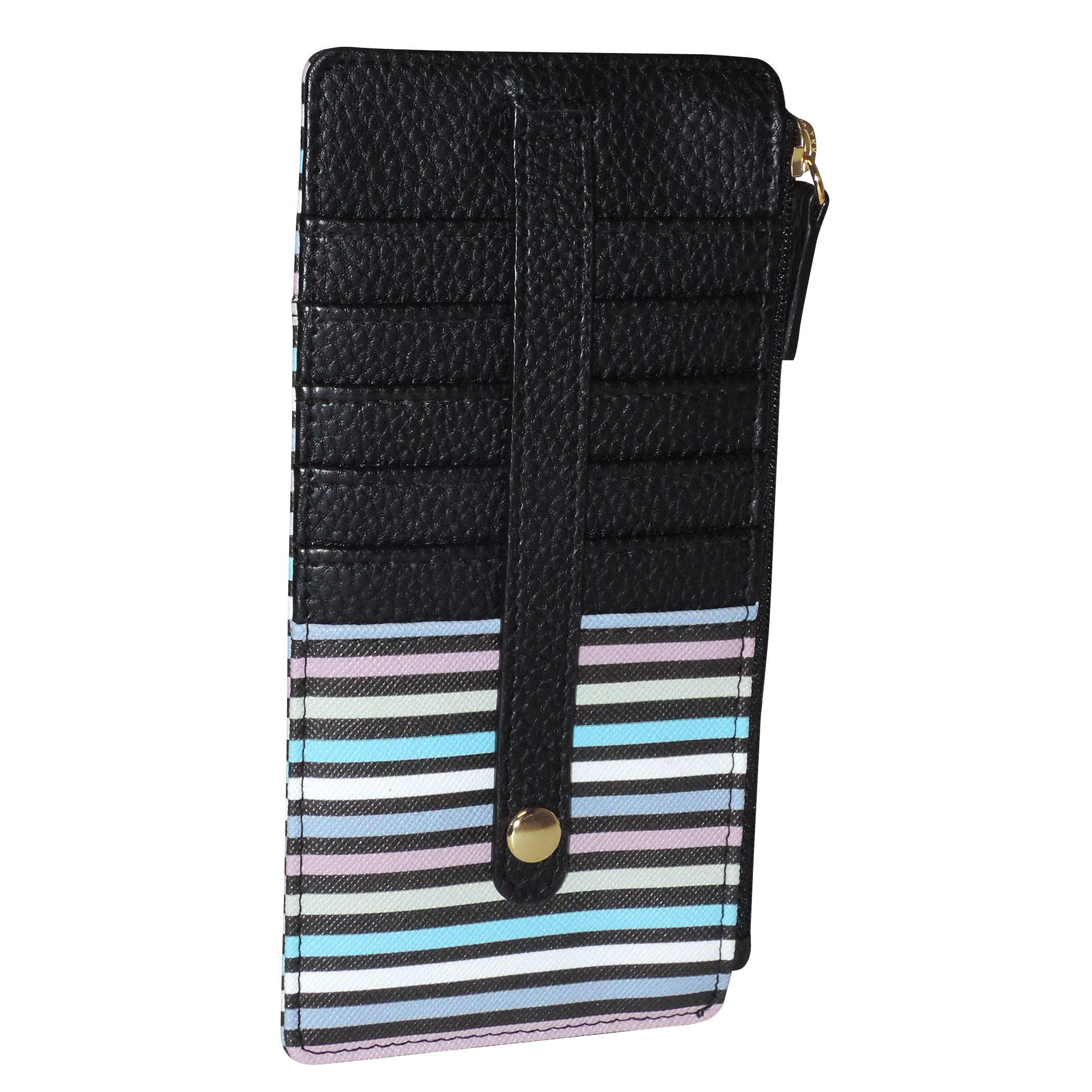 Buxton Womens Leather 3 in 1 Thin Credit Card Case Wallet/Change Purse/Id Holder (Stripe)