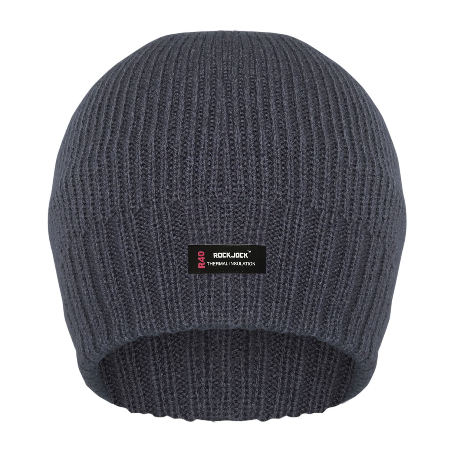 RockJock Ribbed Beanie HAT with R40 Advanced Thermal Insulation for Men