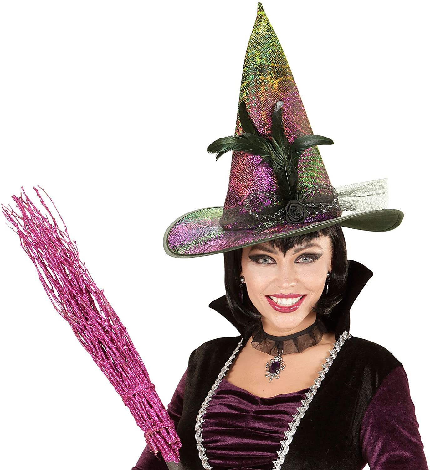 One Size vd-wdm76163 WIDMANN/?/Holographic Bow Unisex-adult with Witch Hat Black