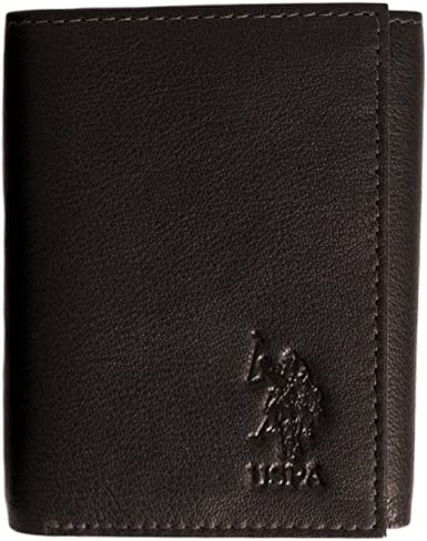 U.S. POLO ASSN. Antique Trifold Mens Crunch Leather Wallet ...