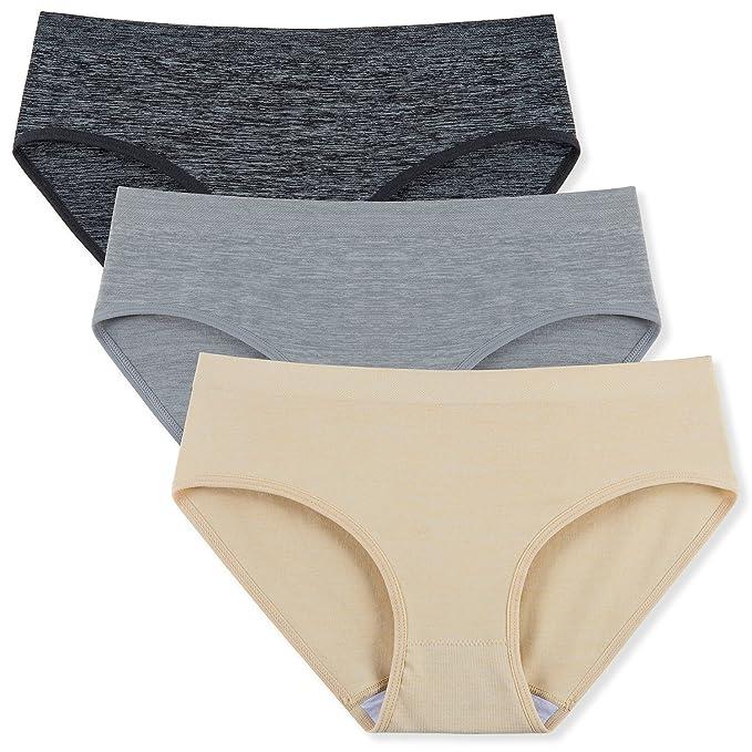 ffab8a9502ae6 Seamless Underwear for Women Nylon Spandex Bikini Panties 3-Pack at ...