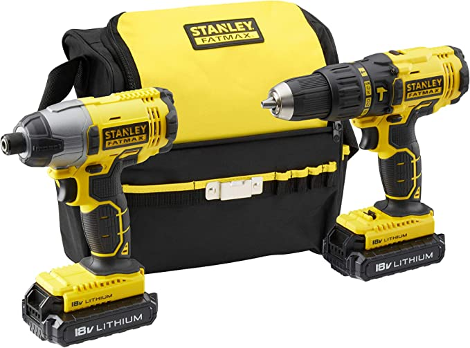 STANLEY FATMAX 18V Hammer Drill, Impact Driver 2 x Batteries, Charger and Carrying Bag