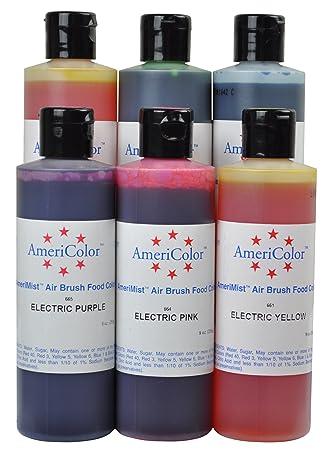 Amazon.com : 6 Electric Color AmeriMist Airbrush Food Coloring Set ...