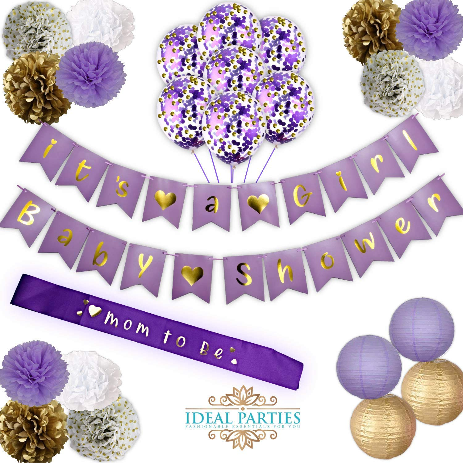 Lavender Baby Shower Decorations set! IT'S A GIRL! Baby shower Banners, Flower PomPoms Gorgeous Light Purple/Gold/White/White with gold dots! Tassel garland,and Lanterns decor for your future Princess