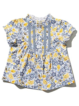 51e40849835e M Co Baby Girl 100% Cotton Blue and Yellow Short Sleeve Lace Front Yoke  Floral Bird