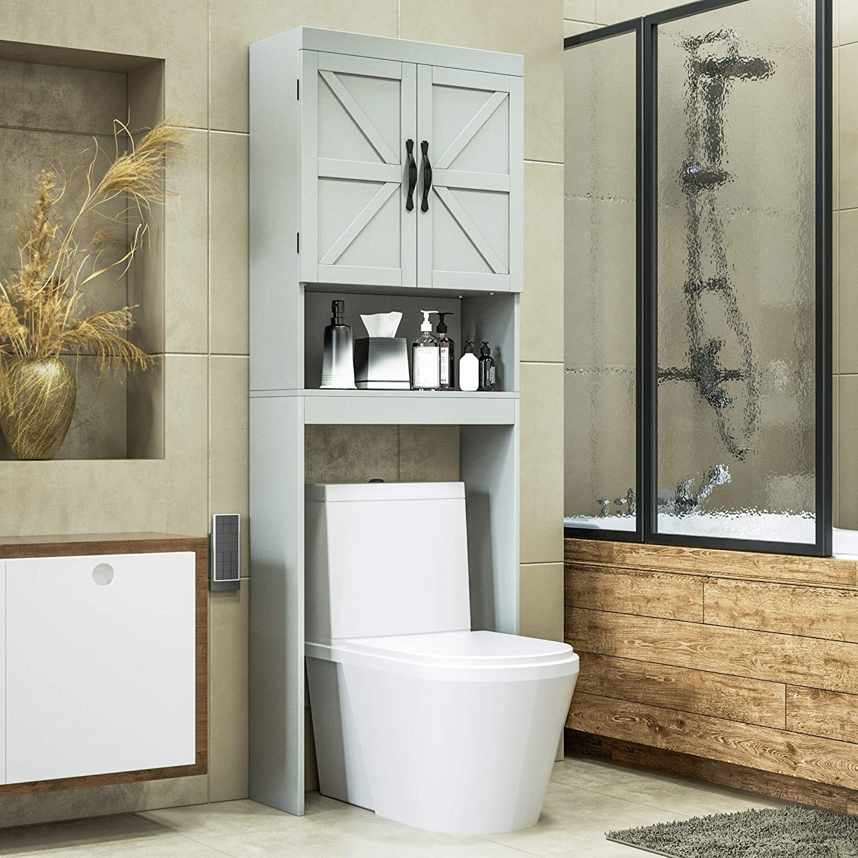 Bathroom Spacesaver With Adjustable Shelf Sriwatana Over The Toilet Storage Cabinet 2 Door Toilet Storage Rack Gray Home Kitchen Furniture
